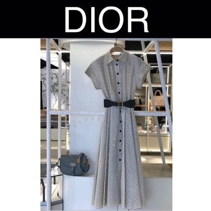 Christian Dior Dots Casual Style Flared Street Style Long Short Sleeves