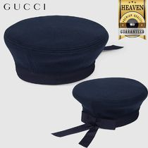 GUCCI Felt Beret With Gucci Embroidery