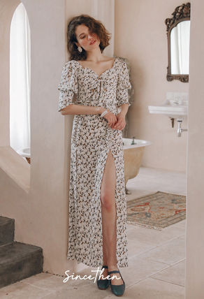 Flower Patterns Casual Style Maxi Blended Fabrics V-Neck