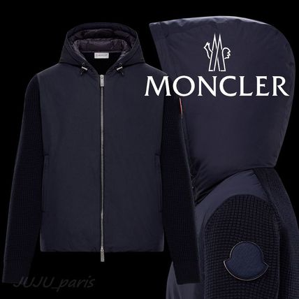 MONCLER Cardigans Wool Nylon Plain Logos on the Sleeves Cardigans