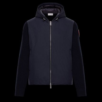 MONCLER Cardigans Wool Nylon Plain Logos on the Sleeves Cardigans 2