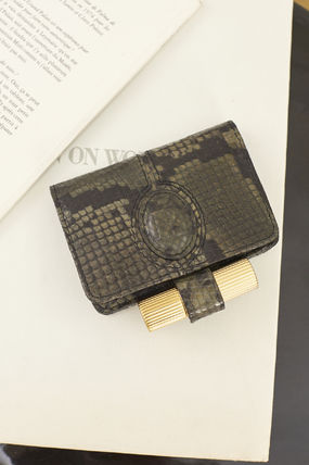 Small Wallet Calfskin Leather Python Coin Cases