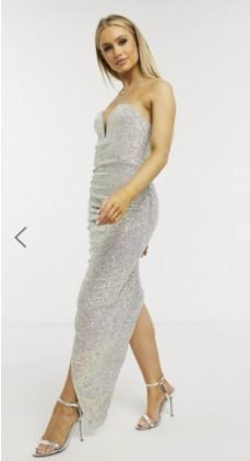 Tight Sleeveless Long Elegant Style Glitter Asymmetry
