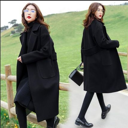 Formal Style  Stand Collar Coats Casual Style Wool Plain