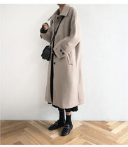 Stand Collar Coats Casual Style Wool Street Style Plain