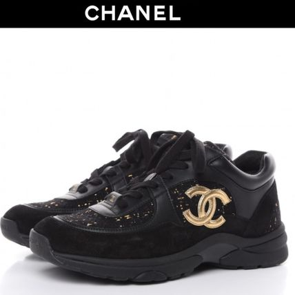 CHANEL Casual Style Suede Tweed Blended Fabrics Plain Logo