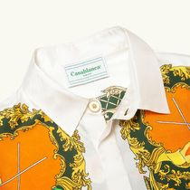 Casablanca Shirts Button-down Silk Blended Fabrics Bi-color Long Sleeves 4
