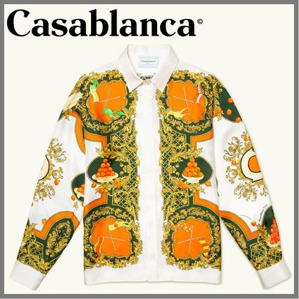 Casablanca Shirts Button-down Silk Blended Fabrics Bi-color Long Sleeves