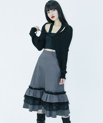 Flared Skirts Casual Style Street Style Cotton Medium Long