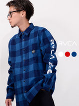 RVCA Other Plaid Patterns Unisex Oversized Logos on the Sleeves