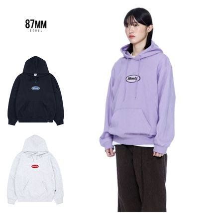 87MM Hoodies Unisex Street Style Long Sleeves Plain Logo Hoodies