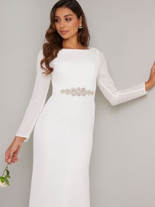 Tight Maxi Boat Neck Long Sleeves Long With Jewels