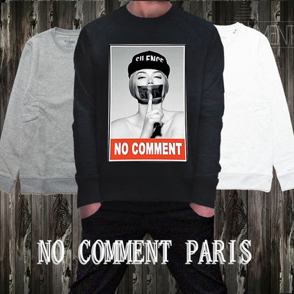 NO COMMENT PARIS Sweatshirts Unisex Street Style Long Sleeves Logo Sweatshirts