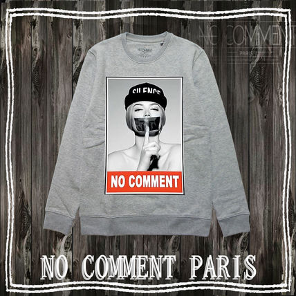 NO COMMENT PARIS Sweatshirts Unisex Street Style Long Sleeves Logo Sweatshirts 2