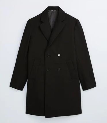 ZARA Plain Peacoats Coats