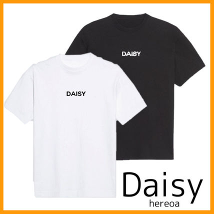 Daisy Crew Neck Plain Cotton Short Sleeves Logo T-Shirts