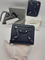 BALENCIAGA Leather Halloween Folding Wallet Logo Folding Wallets