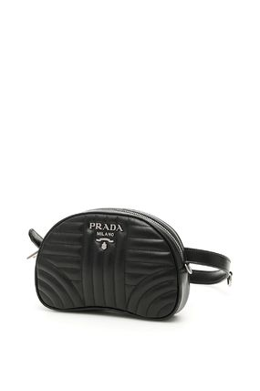 PRADA DIAGRAMME Casual Style Calfskin Plain Leather Party Style