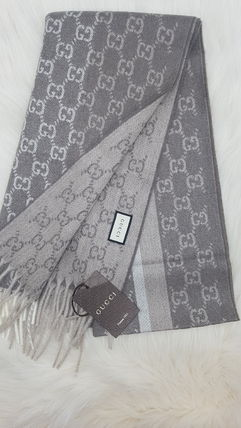 GUCCI Wool Cashmere Logo Scarves