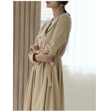 Casual Style A-line Flared Long Sleeves Plain Cotton Long