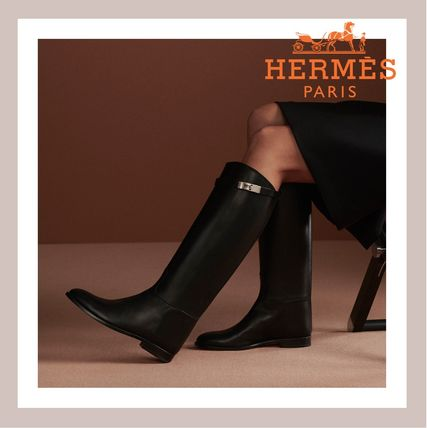 HERMES Plain Leather Block Heels Logo Flat Boots