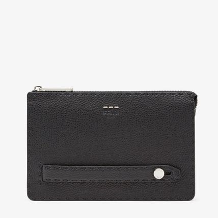 FENDI SELLERIA Calfskin Plain Clutches