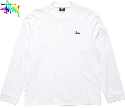 STUSSY Long Sleeves Plain Cotton Long Sleeve T-shirt Skater Style