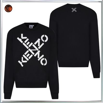 KENZO Sweatshirts Crew Neck Sweat Long Sleeves Plain Cotton Logo Designers