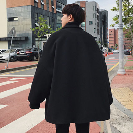 Wool Street Style Plain Oversized Peacoats Coats