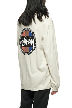STUSSY Crew Neck Long Sleeves Plain Cotton Long Sleeve T-shirt