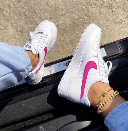 Nike AIR FORCE 1 Rubber Sole Casual Style Logo Low-Top Sneakers