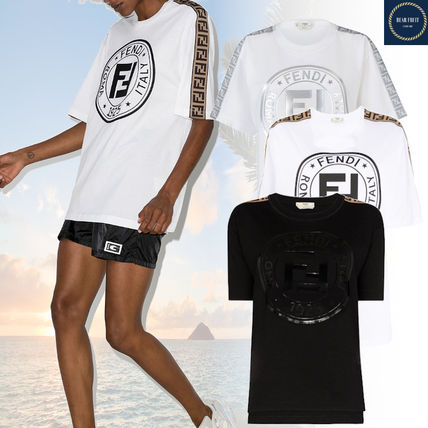 FENDI Crew Neck Medium Logos on the Sleeves Logo T-Shirts