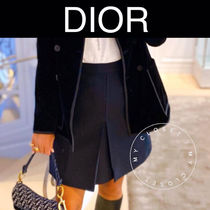 Christian Dior Short Wool Silk Street Style Plain Handmade Mini Skirts