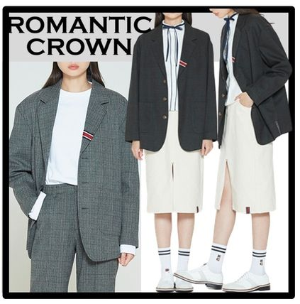 ROMANTIC CROWN Casual Style Unisex Street Style Jackets