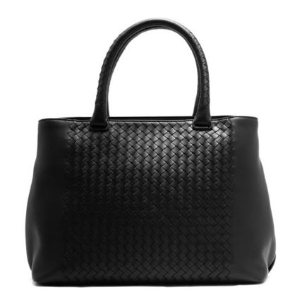 BOTTEGA VENETA Unisex Lambskin A4 Plain Leather Handmade Totes