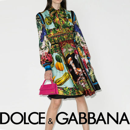 Dolce & Gabbana Flower Patterns A-line Silk Long Sleeves Medium Party Style