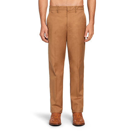 Tapered Pants Plain Cotton Dark Brown Tapered Pants