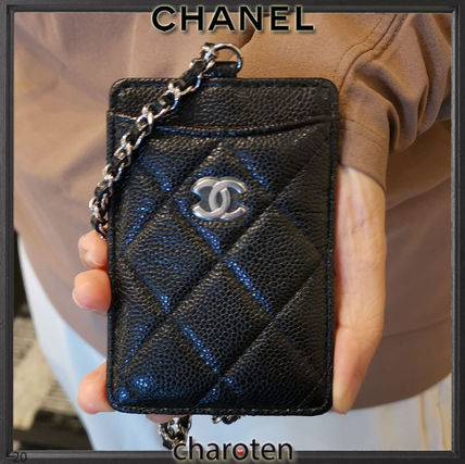 CHANEL MATELASSE Unisex Calfskin Chain Plain Leather Card Holder Card Holders