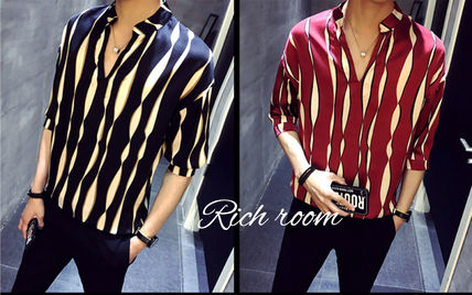 Shirts Button-down Street Style Bi-color Cropped Shirts
