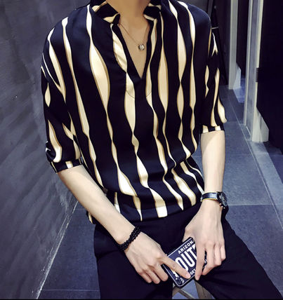 Shirts Button-down Street Style Bi-color Cropped Shirts 2
