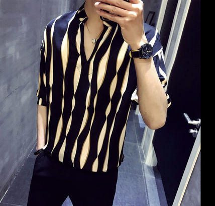 Shirts Button-down Street Style Bi-color Cropped Shirts 3