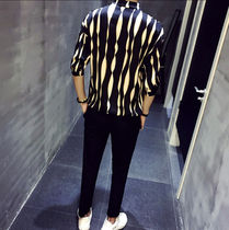Shirts Button-down Street Style Bi-color Cropped Shirts 4