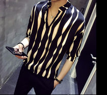 Shirts Button-down Street Style Bi-color Cropped Shirts 5