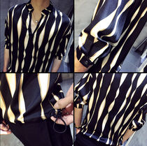 Shirts Button-down Street Style Bi-color Cropped Shirts 6