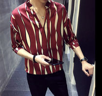 Shirts Button-down Street Style Bi-color Cropped Shirts 9