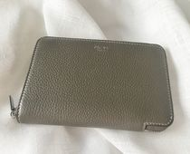 CELINE Zipped Plain Leather Long Wallet  Folding Wallets