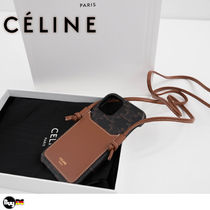 CELINE Triomphe Canvas Leather Smart Phone Cases