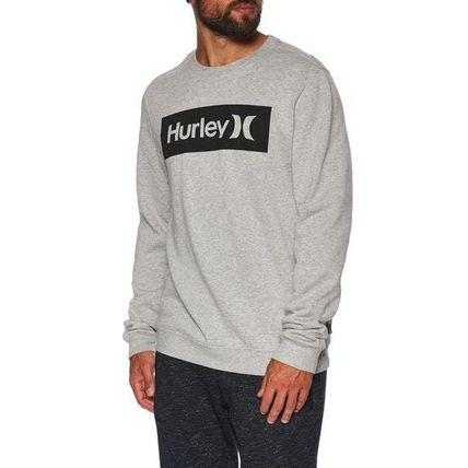 Crew Neck Sweat Long Sleeves Plain Logo Sweatshirts