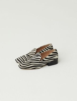 Zebra Patterns Square Toe Casual Style Leather Block Heels