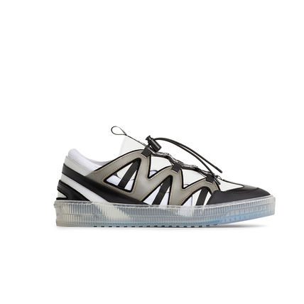 Street Style Bi-color Leather Logo Sneakers